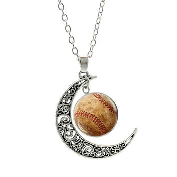 I Love My Baseball Player pendant moon necklace jewelry
