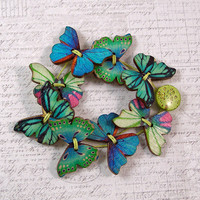 Green and Blue Butterfly Wooden Button Bracelet, Small