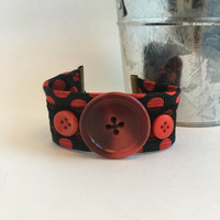 Red Black Cuff Retro Necktie Bracelet Polka Dot Jewelry Button Bracelet Upcycled Necktie Cuff Reclaimed Rocker Gift Recycled Stocking Gift