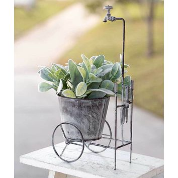 Rustic Showered Garden Cart Planter