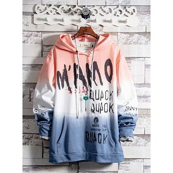 Spring and autumn trend hip hop hiphop loose gradient hooded sweater men and women neutral sweatshirt