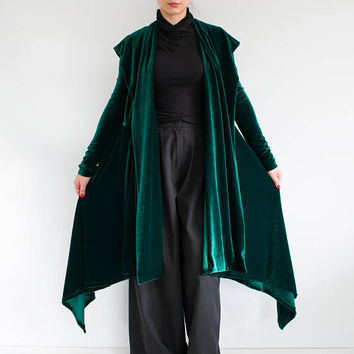 Velvet hooded jacket/ Hooded cardigan/ green velvet jacket/ Long loose tunic/ gypsy velvet kimono/ Plus size coat/ Long boho cardigan ELF