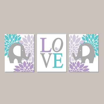 ELEPHANT WALL ART Girl Nursery Decor Lavender Violet Turquoise Gray Birdie Love Set of 3 Prints Or Canvas Baby Girl Elephant Nursery