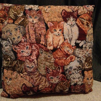 Awesome embroidered cat pillow
