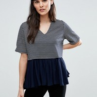ASOS Top With V Neck In Stripe With Ruffle Hem at asos.com
