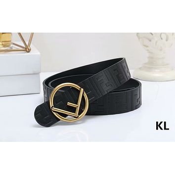 Fendi Tide brand double F buckle simple wild belt black