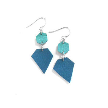 Mint and teal jewel earrings, handmade in leather