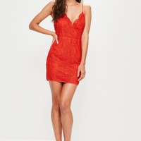 Missguided - Red Lace Strappy Bodycon Dress