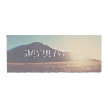 "Laura Evans ""Adventure Awaits You"" Coastal Typography Bed Runner"
