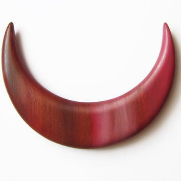 Wooden hair moon, crescent moon, moon hair, hair toy, red, ruby, rainbow