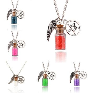 1PC Supernatural Protection Necklace Angel Wing Pentagram With Wishing Salt Bottle Pendant Silver Tone Chain Necklace Best Gift