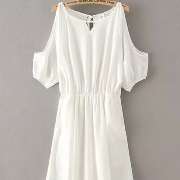 White Cut-Out Shoulder Elastic Waist Dress