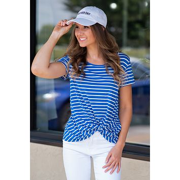 Knot My Problem Striped Tee : Royal Blue