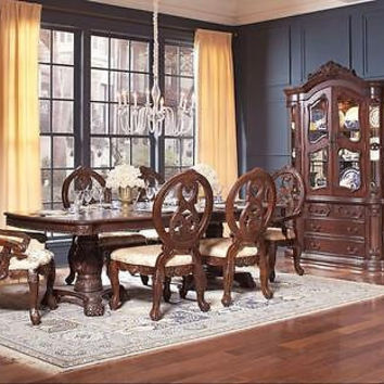 FORMAL DINING TABLE DOUBLE PEDESTAL DARK CHERRY FINISH 7 PIECE SET