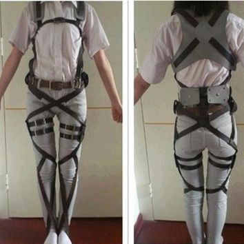 Cool Attack on Titan Unisex Halloween  Costumes No  Recon Corps Harness Belts Hookshot Cosplays Adjustable Belts sets AT_90_11