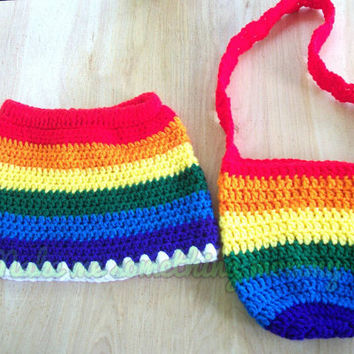Crochet rainbow skirt size 18-24 months/2t. Knee length skirt. Matching bag included.