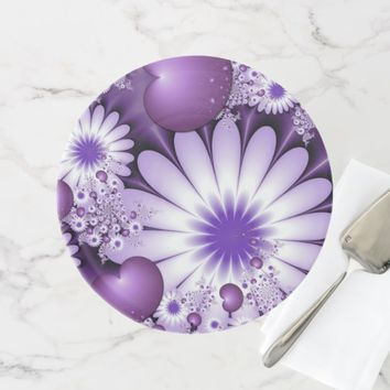 Falling in Love Abstract Flowers & Hearts Fractal Cake Stand
