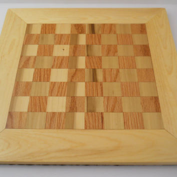 Chess Board New Hand Made Wood Birch Oak Pine Felt Base With Pieces OOAK