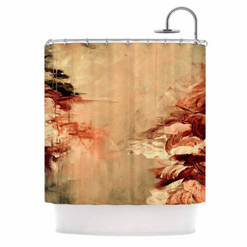 "Ebi Emporium ""Winter Dreamland 7"" Orange Maroon Shower Curtain"
