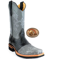King Exotic Gray Elephant Mens Boots Square Toe With Saddle Vamp