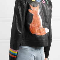 Mira Mikati - Fox painted leather biker jacket