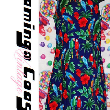 Vintage 80s 90s Dress Parrot Bird Hawaiian All Over Print