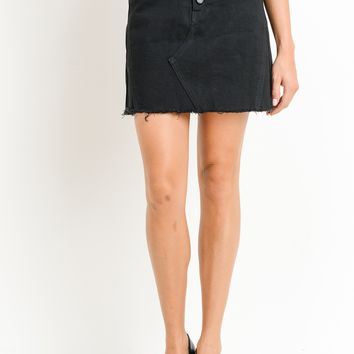 JUST BLACK BUTTON FLY DENIN MINI SKIRT