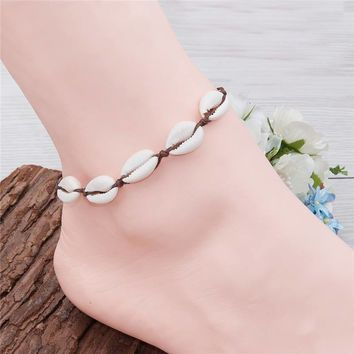 Shell Anklet Coffee Natural Oval Foot Bracelet  Beach Jewelry