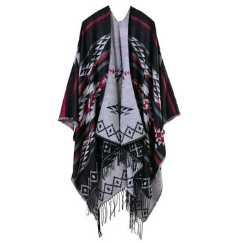 Women Knitted Cape Poncho Open Front Geometric Striped Tassel Fanon Fringe Duplex Cashmere Shawls And Scarves Pashmina SM6
