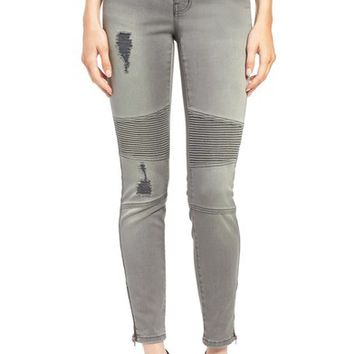 Dex Distressed Biker Skinny Jeans (Faded Grey) | Nordstrom
