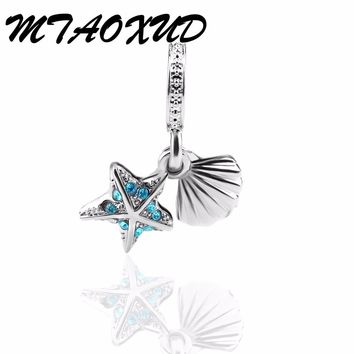 2017 Summer Newest Plated Silver Beads Tropical Starfish & Sea Shell Pendant Charms Fit Original Pandora Bracelets Jewelry
