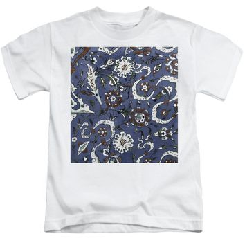 An Ottoman Iznik Style Floral Design Pottery Polychrome, By Adam Asar, No 15d - Kids T-Shirt