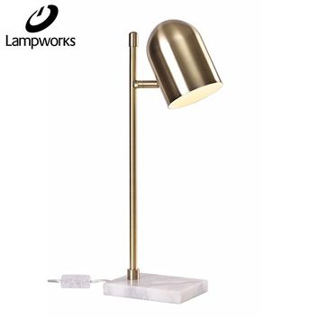 Lampworks Table Lamp Marble Base Bedside Lamp Metal Lampshade Edison Bulb Brass Desk Lamp Modern Industrial Design Light for Bedrooms Living Room(Bulb Not Included)