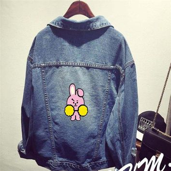 Kpop Bantan Boys BT21 BTS Denim Jeans Cartoon CHIMMY COOKY TATA KOYA Same Women Bomber Autumn Winter Denim Jacket Coats