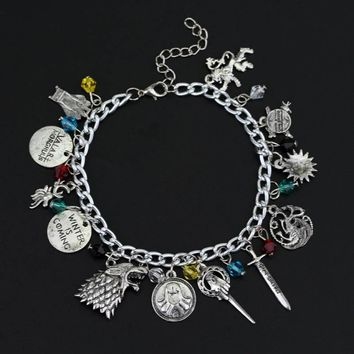 Game of Thrones unisex charm bracelet Hand of the King Targaryen Dragon Badge Winter Is Coming wolf head gold lion punk style