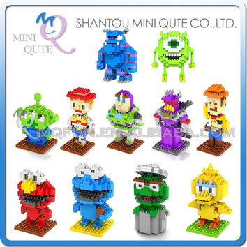 Mini Qute WTOYW loz kawaii Sesame Street Monster University Sulley Mike Toy Story Buzz woody building block educational toy