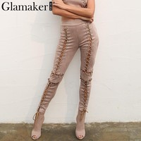Glamaker suede leather lace up pants capris Women sexy hollow out skinny causal pants Autumn winter bodycon sweatpants bottom
