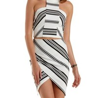 Ivory Combo Mixed Stripe Racer Front Halter Top by Charlotte Russe