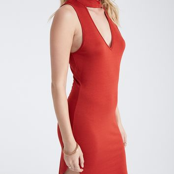 Mock Neck Bodycon Dress With Keyhole Cutout | Wet Seal