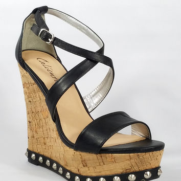 """Cork Wrapped Wedge Black Upper / Trim With Studs 5"""" High Heels"""