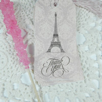 Thank You Tags, Gift tags, Vintage Tags, Eiffel Tower Gift tag, Thank You Gift Tag