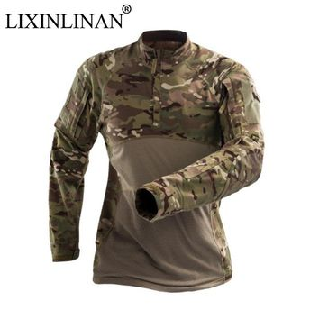 Cotton Tactics wear-resistant long-sleeved Camouflage military Hunting Climbing combat shirt Airsoft Paintball Clothe
