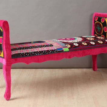 Marquis patchwork bench - pink