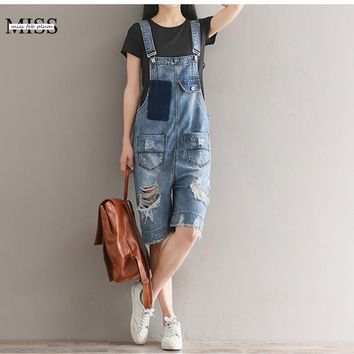 MISSFEBPLUM 2017 Summer Casual Loose Women Denim Jumpsuits Strap Hole Ripped Pockets Shorts Jeans 5 Pionts Overall Pants Romper