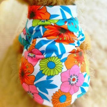 Summer Beach Vest Short Sleeve Pet Clothes Dog Top Floral T Shirt Hawaiian Tops