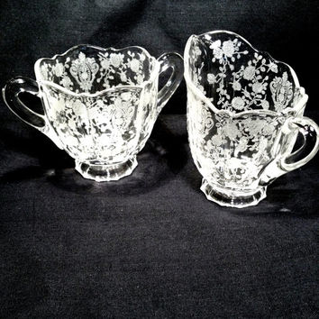 Depression Glass Sugar and Cream Set Antique Etched Crystal Fostoria Clear Glass, Tea Party, Hostess Gift, Cottage Chic, Shabby Chic,