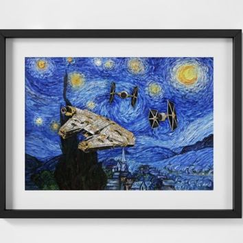 Millennium Falcon Van Gogh Starry Night - A2 A3 A4 - FREE Shipping - 4 for 2 | eBay
