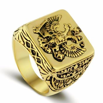 Double-headed Eagle Gold Ring