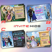 Tangled Frozen and Sofhia Princess - Invitation Card - Birthday Party Kids - InviteKids