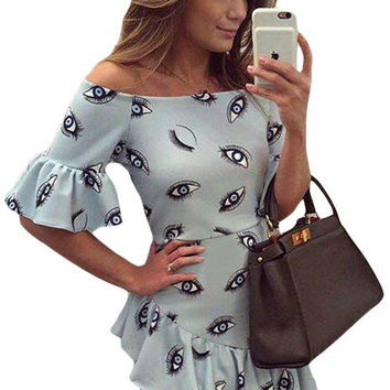 Eye Pattern Print Baby Blue Off Shoulder Dress